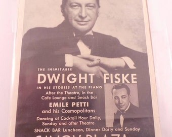 Vintage 1937 Ad Savoy Plaza Hotel New York Dwight Fiske in his stories at the piano