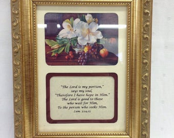 "Framed ""The Lord is my Portion says my Soul"" Plaque"