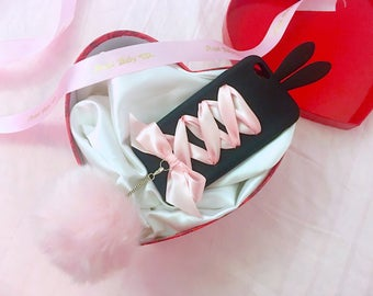 Larme Pink&Black Sweet Bunny iPhone 6 Case