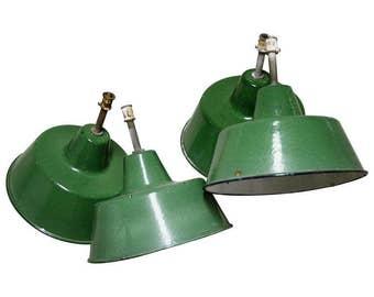 Green industrial pendant lights - green enamel shades - vintage industrial pendant lights - green lamps - industrial lamp shades - vintiques