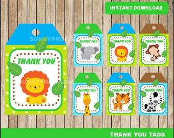 Safari tags; printable Safari baby shower Thank you Tags, Safari party tags instant download