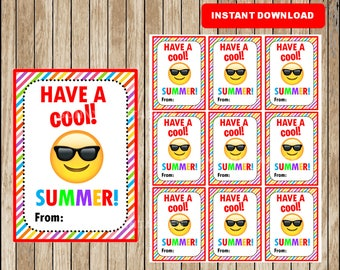 Emoji End of School Cards, Funny Friend Gift Tags, Printable Summer Gift Tag cards  instant download