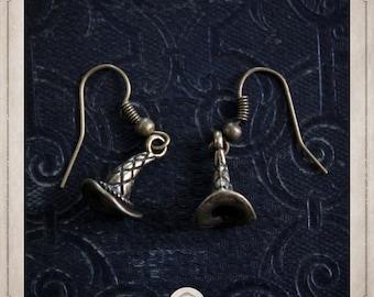 MAGICIAN Hat earrings bronze Fantasia, witch BOB051