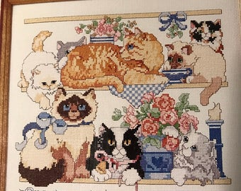 Vintage counted cross stitch Kitty Talk pattern book