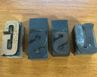 Vintage Set of 4 Wooden letter blocks, (s, s, l, g)