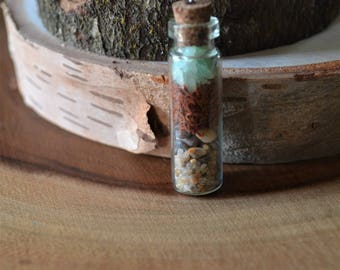 Green fluorite tiny terrarium necklace