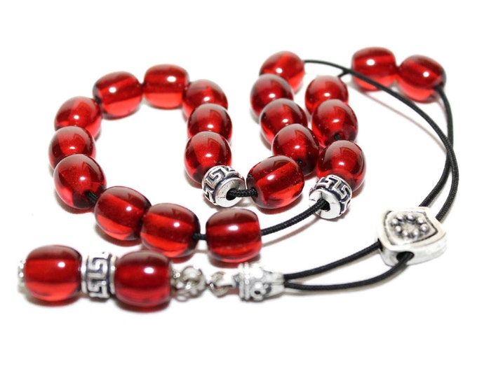 Worry Beads, Greek Komboloi, Cherry Red color, Round Barrel Beads, Relaxation, Meditation