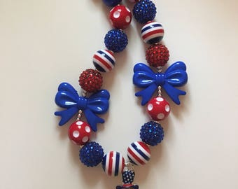Patriotic girl bubblegum necklace