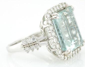 18K White Gold Aquamarine Emerald Diamond ring w/ Double Prong Vintage 13.91CT