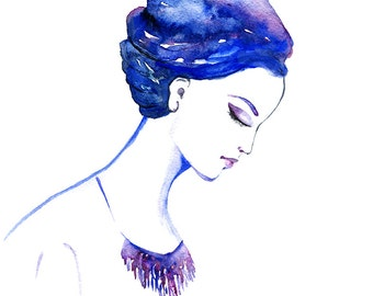 Fashion illustration, Watercolor Fashion illustration, Watercolor Girl, Blogs, Fashion portrait, Clip Art illustration, Purple, Fashion