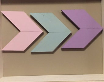 Pink green lavender chevron wall decor (set of 3)