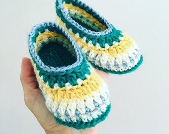 SALE Hand crocheted toddler slippers