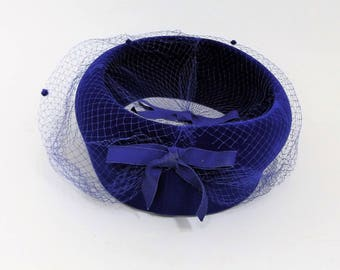 60's Vintage Royal Blue Ladies Hat with Matching Netting