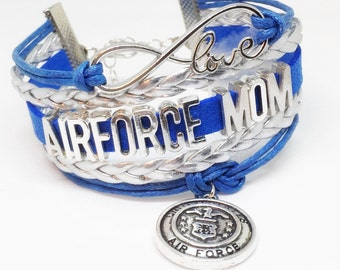Air Force Mom, Airforce mom, USAF Mom, Air Force Bracelet, Air Force Gift, Air Force Valentine, Air Force Deployment, Deployment Gift