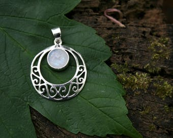 Moonstone Pendant With Sterling Silver Detail