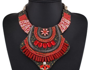 Gorgeous Red African Inspired Necklace