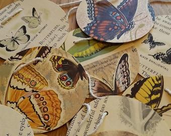 "Vintage ""Butterflies and Moths"" book paper garland"
