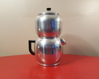 "Vintage Kwik Drip Coffee Percolator 15.5"", Coffee Maker, Aluminum Percolator by West Bend, 1945 Large Clean, Qwik Drip, Aluminum Coffee Pot"
