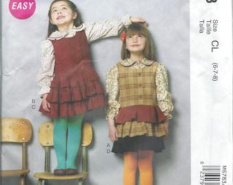 McCalls 6783, Girls, Tops, Jumper, Sewing Pattern, Girls Pattern, Sizes 6-7-8, Childs Dress, Frilly, Ruffles, Childs Jumper, Uncut Pattern