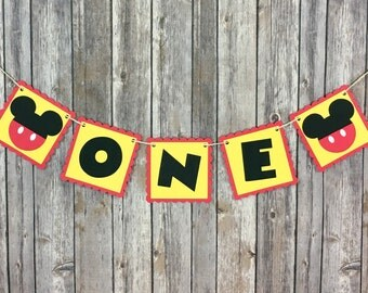 Mickey Mouse One Highchair Banner, One High Chair Banner, First Birthday, Photo Prop