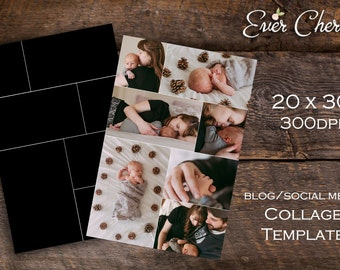 Poster Size 2-Square 5-Rectangle Photo Digital Collage Storyboard Photographer Template PSD Social Media Blog Facebook Pinterest Photography