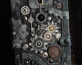 "Steampunk journal A5 ""Black mechanics"" notebook blank journal diary READY TO SHIP"