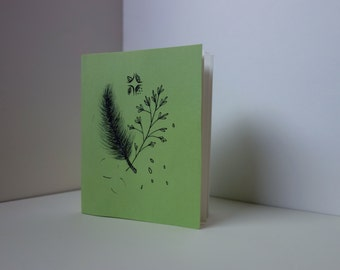 Artist's Paperback Notebook: Hand-bound with high quality vellum paper with Pine and Grass and small four seasons motif