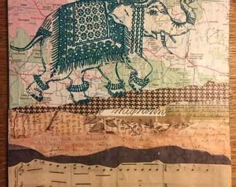 "Elephant Collage Canvas Board 8x10"""