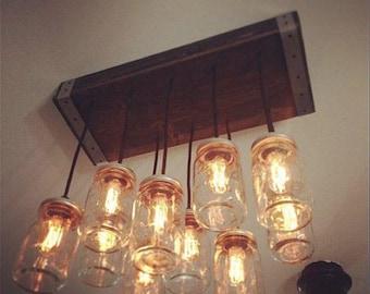 Rustic chandelier, Mason Jar Chandelier- Lighting - Mason Jar Lighting- Ceiling  Light, Rustic Lighting, Mason Jar Light, Farmhouse