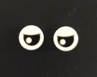 LEGO Black Eye with Pupil Partially Closed Pattern Earrings