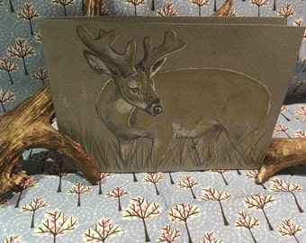 At Dawn - Whitetail Buck Greetings Card