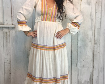 Vintage Maxi Dress//Renaissance Fair Dress//Boho Wedding Dress// Vintage Prairie Dress// Cosmic Maxi circa 1970's//
