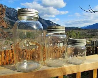 set of three antique Improved Gem mason jars, made in Canada