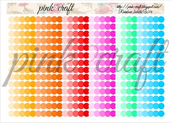 Washi planner stickers. Rainbow bubble collection W1r