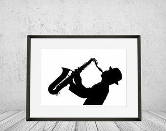 Saxophone, Wall Art Print, Musical Instrument, Saxophonist, Black and White, Jazz, Wall Art, Musician, Playing, Music, Man, Digital Download
