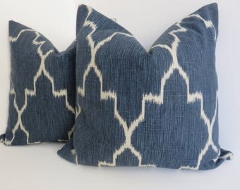 Ikat Blue Trellis Pillow Cover, Indigo Blue Pillow Cover- Morrocan Blue Pillow Cover- Geometric Navy Blue Pillow- Lacefield Blue Pillows