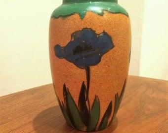 Vintage Blue Poppy Vase 1920s