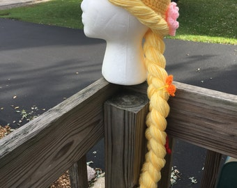Repunzel hat with attached hair