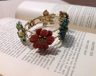 Vintage Gold Toned Hinged Bracelet with Enamel Flowers