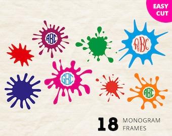 Blot Monogram svg Circle Frames, Ink Splash personalized monograms for Vinyl Heat Press Transfer, Silhouette Studio, Cricut, Iron on