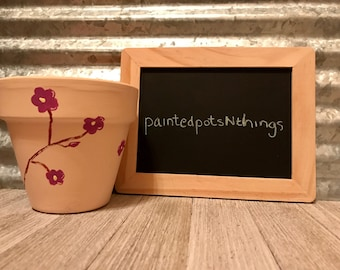 Cherry Blossom Hand Painted Flower Pot