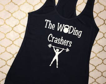 The WODing Crashers, Crossfit Tank Top, Racerback Tank Top, WOD, Crossfit, Workout Apparel, Workout Tank Top, Crossfit Tank, Kettlebell
