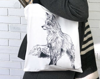 Fox Tote Bag, lightweight bag, black and white tote, graphic print, canvas bag,