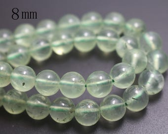 8mm Natural Prehnite Beads,Smooth and Round Stone Beads,15 inches one starand