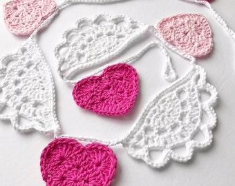 Crochet Valentine Bunting//Crochet Valentine Banner//Crochet Valentine Garland//Valentine Decoration//Valentine Home Decor//Heart Banner