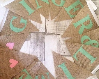 Personalised Hessian Bunting - ONE flag listing