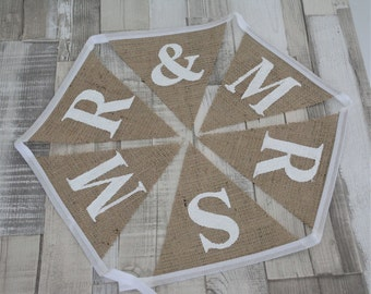 Mr & Mrs Bunting Hessian Mr Mr Mrs Mrs Bunting - Rustic Wedding, Vintage Wedding, Rustic, Vintage, Country, Burlap Bunting