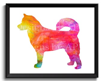 Alaskan Malamute art, sled dog art, Siberian husky art, watercolor dog print, watercolor dog art, rainbow dog, abstract dog, Samoyed