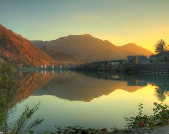 Two worlds - Photo River - Photo Tuscany - Photo Sunset - reflections - photography art - reflections photo - nature photo