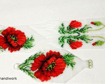 necklace Gerdan beaded-Christmas gift-beaded necklace-elegant necklace-handmade jewelry-Red poppies